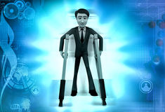 3d character with crutch illustration Stock Images
