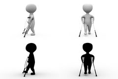 3d character on crutches concept collections with alpha and shadow channel Stock Images