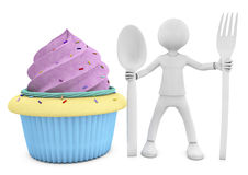 3d character and cupcake Stock Photo
