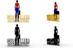 3d character customer satisfaction concept Collections With Alpha And Shadow Channel Royalty Free Stock Photography