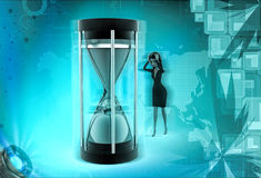 3d character deadline problem and lokking at clock concept Royalty Free Stock Photos