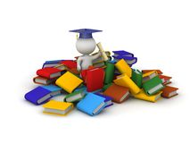 3D Character with Diploma and Many Books Royalty Free Stock Image