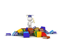 3D Character With Diploma Standing on Pile of Colorful Books Royalty Free Stock Photography