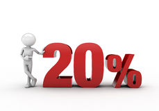 3D character with 20% discount sign. White background Stock Images