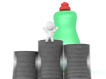 3D Character with dishes and dish soap Stock Images