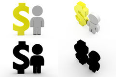 3d character dollar concept collections with alpha and shadow channel Stock Photography
