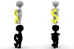 3d character dollar sign concept collections with alpha and shadow channel Stock Images