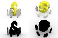 3d character dollar team concept collections with alpha and shadow channel Royalty Free Stock Image