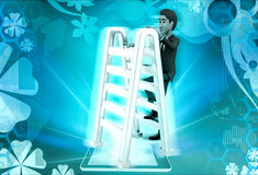 3d character with double sided ladder concept Royalty Free Stock Images