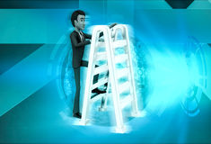 3d character with double sided ladder concept Stock Photos