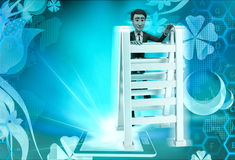 3d character with double sided ladder concept Royalty Free Stock Photo