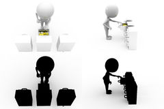 3d character with drawer concept collections with alpha and shadow channel Royalty Free Stock Photography