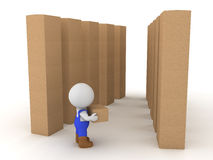 3D Character dressed as blue collar worker carrying box in a wha. Rehouse. Image depicting working class job Stock Images