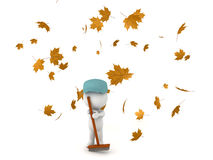 3D Character dressed as janitor cleaning fallen autumn leaves Royalty Free Stock Images