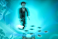 3d character with drug capsules illustration Royalty Free Stock Images
