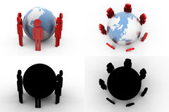 3d character earth team concept collections with alpha and shadow channel Stock Photo