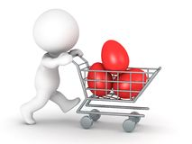 3D Character with Easter Eggs in Shopping Cart Royalty Free Stock Image