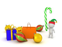 3D Character with Elf Hat, Candy Cane, Christmas Gifts and Globe Stock Photography