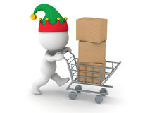 3D Character with Elf Hat with Cardboard Boxes in Shopping Cart Stock Photos
