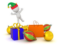 3D Character in Elf Hat and Christmas Gifts Stock Photography
