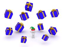 3D Character with Elf Hat and Falling Wrapped Gifts Royalty Free Stock Photography