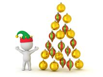 3D Character with Elf Hat and Globes arranged as Christmas Tree Stock Photo