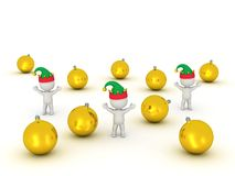 3D Character with Elf Hat and Golden Globes Stock Photography