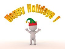 3D Character with Elf Hat and Happy Holidays! Text Royalty Free Stock Photos