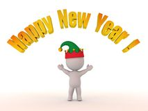 3D Character with Elf Hat and Happy New Year! Text Stock Photography