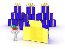 3D Character with Elf Hat happy and open gift box Royalty Free Stock Photos