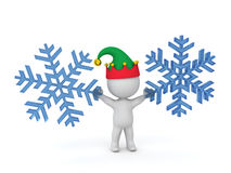 3D Character with Elf Hat Holding Large Snowflakes Royalty Free Stock Photography