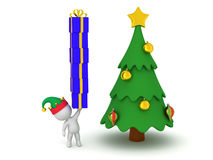 3D Character with Elf Hat Holding Stack of Wrapped Gift Boxes Stock Image