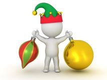 3D Character with Elf Hat Holding Two Colorful Globes Stock Photos