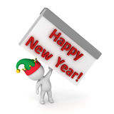 3D Character with Elf Hat holding up a Calendar with Happy New Y Stock Photo