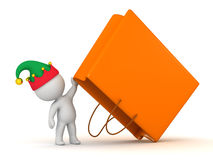 3D Character with Elf Hat Holding Up Large Gift Bag Royalty Free Stock Photos