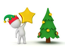 3D Character in Elf Hat Holding Up Large Star Decoration for Chr Stock Images