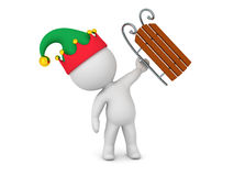 3D Character with Elf Hat Holding Up a Sled Royalty Free Stock Image