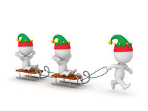 3D Character with Elf Hat Pulling Sleds with Other 3D Characters Royalty Free Stock Image