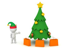 3D Character with Elf Hat Showing Cartoonish Christmas Tree and Royalty Free Stock Photo