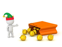 3D Character with Elf Hat Showing Gift Bag with Decorative Globe Royalty Free Stock Photography