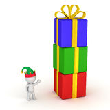 3D Character with Elf Hat Showing Gift Boxes Stack Stock Image