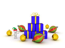 3D Character with Elf Hat Showing Gifts and Globes Stock Image