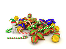 3D Character with Elf Hat Showing Pile of Christmas Goodies Stock Image