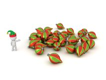 3D Character with Elf Hat Showing Pile of Colorful Globes Stock Photography