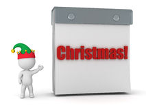 3D Character with Elf Hat Showing Tare Off Calendar with Christm Stock Images