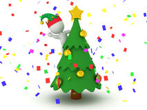 3D Character with Elf Hat Standing in Decorated Christmas Tree Royalty Free Stock Images