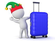 3D Character with Elf Hat and Travel Trolley Stock Photography