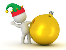 3D Character with Elf Hat Waving from behind Golden Globe Stock Photo