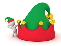 3D Character with Elf Hat waving from behind large elf hat Royalty Free Stock Images
