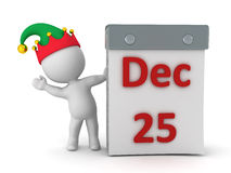 3D Character with Elf Hat Waving from Behind Tare Off Calendar w Royalty Free Stock Photo